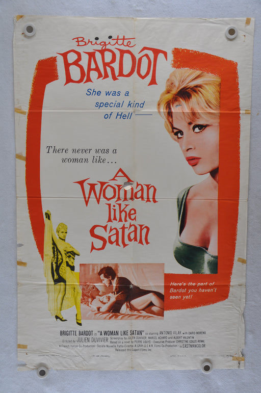 1959 A Woman Like Satan Original 1SH Movie Poster Brigitte Bardot Antonio Vilar   - TvMovieCards.com