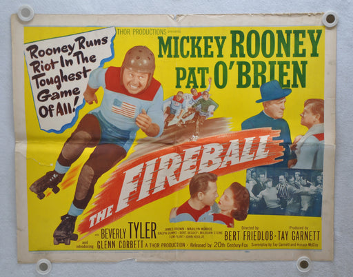 1950 The Fireball Original 1SH Movie Poster Mickey Rooney Roller Derby   - TvMovieCards.com