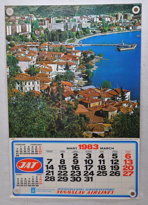 "Yugoslavia Airlines Olympics Travel Poster JAT March 1983 Calendar 26"" x 38""   - TvMovieCards.com"