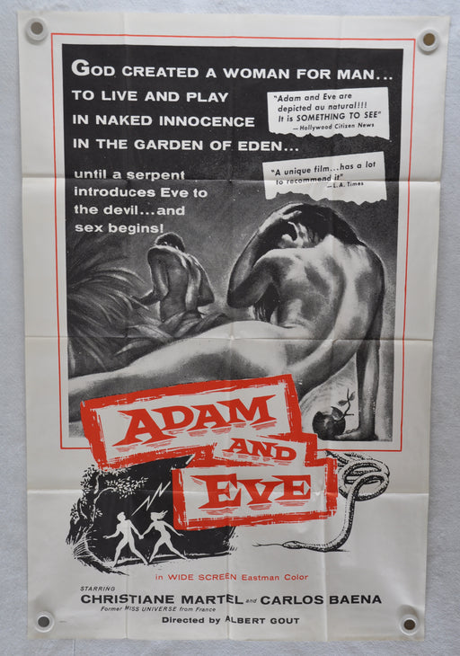 1956 Adam and Eve Original 1SH Movie Poster Christiane Martel, Carlos Baena   - TvMovieCards.com
