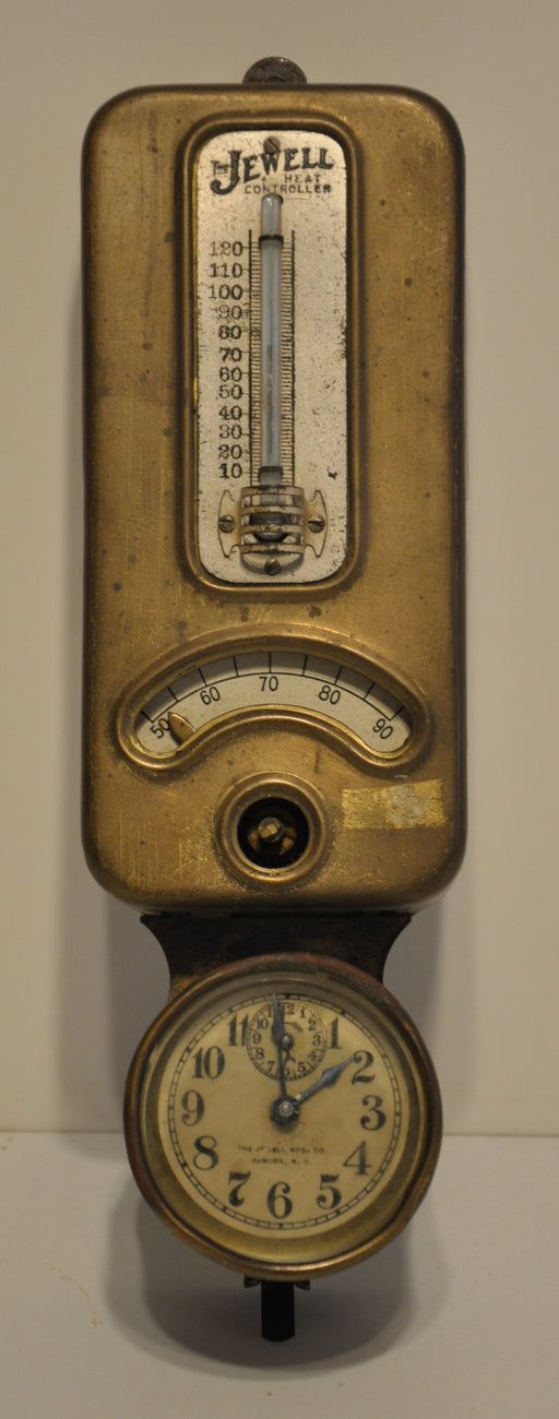 Antique Brass Jewell Heat Controller Wall Thermostat with Clock Steampunk   - TvMovieCards.com