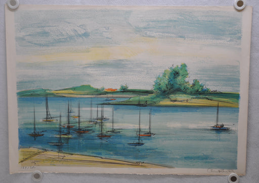 "Reiter ""Harbor Sailboat Scene"" Signed Lithograph Print 21 x 30   - TvMovieCards.com"