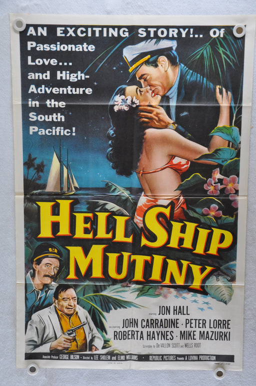 1957 Hell Ship Mutiny Original 1SH Movie Poster Jon Hall, John Carradine, Peter   - TvMovieCards.com
