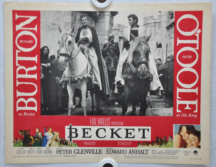 Becket 1964 Lobby Card #8 Movie Poster  Richard Burton, Peter O'Toole   - TvMovieCards.com