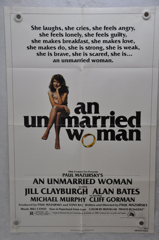 1978 An Unmarried Woman Original 1SH Movie Poster 27 x 41 Jill Clayburgh