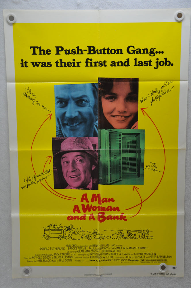 1979 A Man, a Woman and a Bank Original 1SH Movie Poster 27x41 Donald Sutherland   - TvMovieCards.com