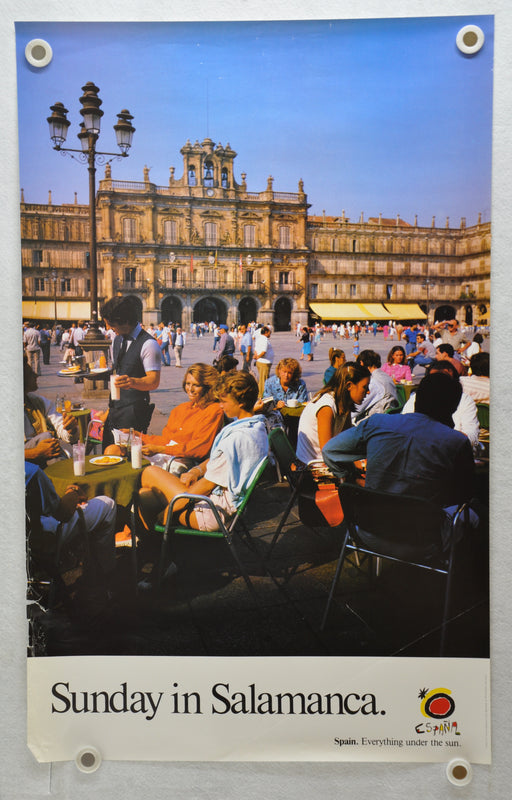 "Vintage 1980s Spain Travel Poster ""Sunday In Salamanca"" 24 x 39   - TvMovieCards.com"