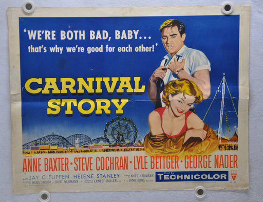 1954 Carnival Story Original Half Sheet Movie Poster Anne Baxter Steve Cochran   - TvMovieCards.com