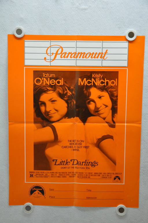 1980 Little Darlings Original Paramount Movie Poster 17 x 22 Tatum O'Neal, Kristy McNichol, Armand Assante
