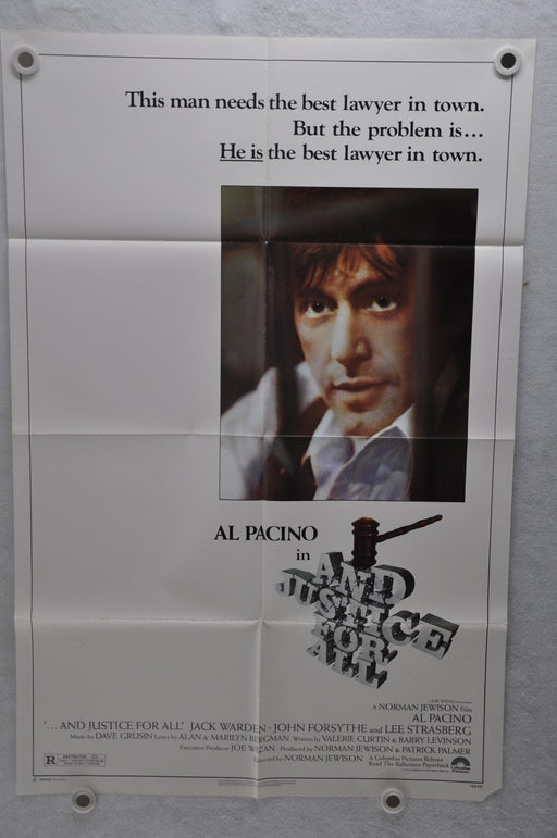 1979 And Justice for All Original 1SH Movie Poster 27 x 41 Al Pacino Jack Warden   - TvMovieCards.com