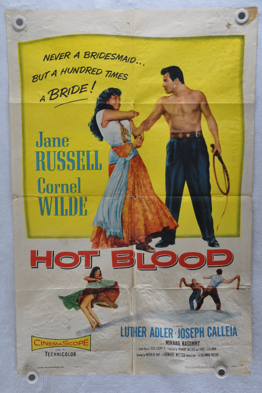 1956 Hot Blood Original 1Sh Movie Poster Jane Russell Cornel Wilde Luther Adler   - TvMovieCards.com