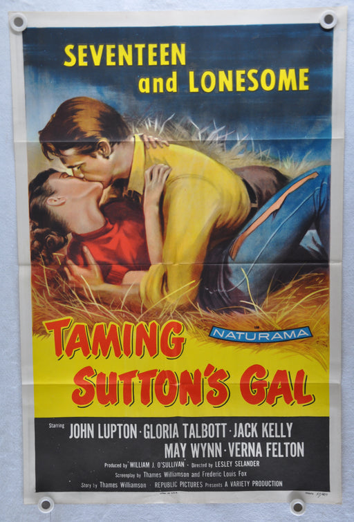 1957 Taming Sutton's Gal Original 1Sh Movie Poster John Lupton Gloria Talbott   - TvMovieCards.com