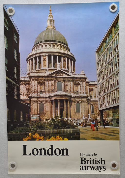 "Vintage 1980s London British Airways Travel Poster ""St. Pauls Cathedral"" 20 x 30   - TvMovieCards.com"