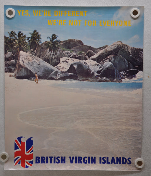 "Vintage 1980s British Virgin Islands Travel Poster ""Yes, We're Different"" 20 x 24   - TvMovieCards.com"