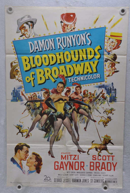 1952 Bloodhounds of Broadway Original 1Sh Movie Poster Mitzi Gaynor Scott Brady   - TvMovieCards.com