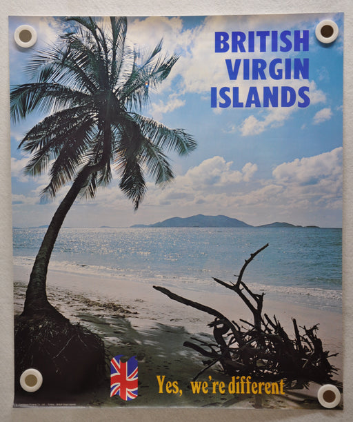 "Vintage 1980s British Virgin Islands Travel Poster ""Yes We're Different"" 20 x 24   - TvMovieCards.com"