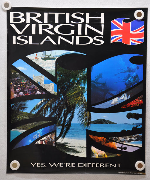"Vintage 1980s British Virgin Islands Travel Poster ""We're Different"" 20 x 24   - TvMovieCards.com"