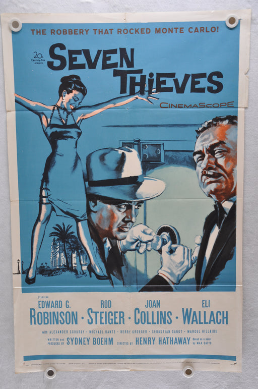 1959 Seven Thieves Original 1SH Movie Poster Edward G. Robinson Joan Collins   - TvMovieCards.com