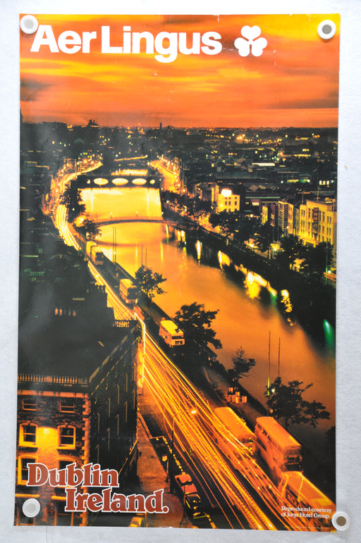 "Vintage 1980s Aer Lingus Airline Travel Poster ""Dublin Ireland"" 25 x 40   - TvMovieCards.com"