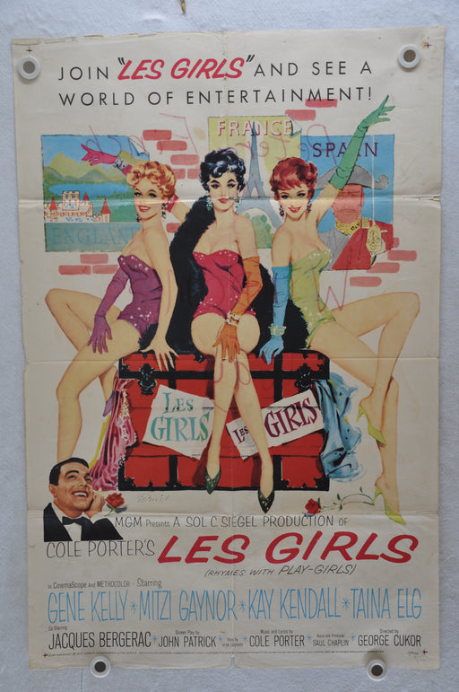 1957 Les Girls Original 1SH Movie Poster Gene Kelly, Mitzi Gaynor, Kay Kendall   - TvMovieCards.com