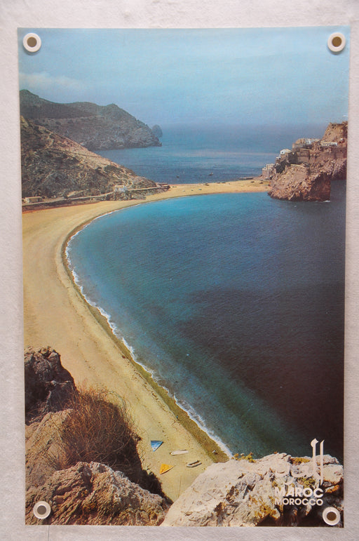 "Vintage 1970s ""Maroc Morocco Beach"" Advertising Tourism Travel Poster 25"" x 39""   - TvMovieCards.com"