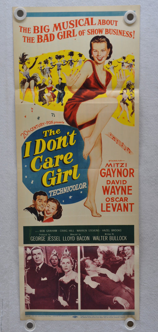 1953 The I Don't Care Girl Original Insert Movie Poster  Mitzi Gaynor, David Way   - TvMovieCards.com