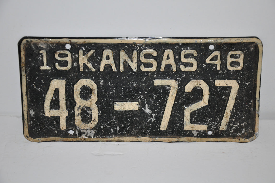 1948 Kansas License Plate # 48-727 Rice County Car Man Cave Chevy Ford   - TvMovieCards.com