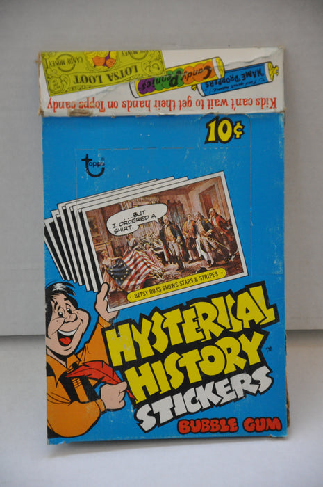 Hysterical History Stickers Empty Bubble Gum Vintage Trading Card Box   - TvMovieCards.com
