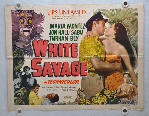 1943 White Savage Original Half Sheet Movie Poster Maria Montez, Jon Hall, Sabu   - TvMovieCards.com