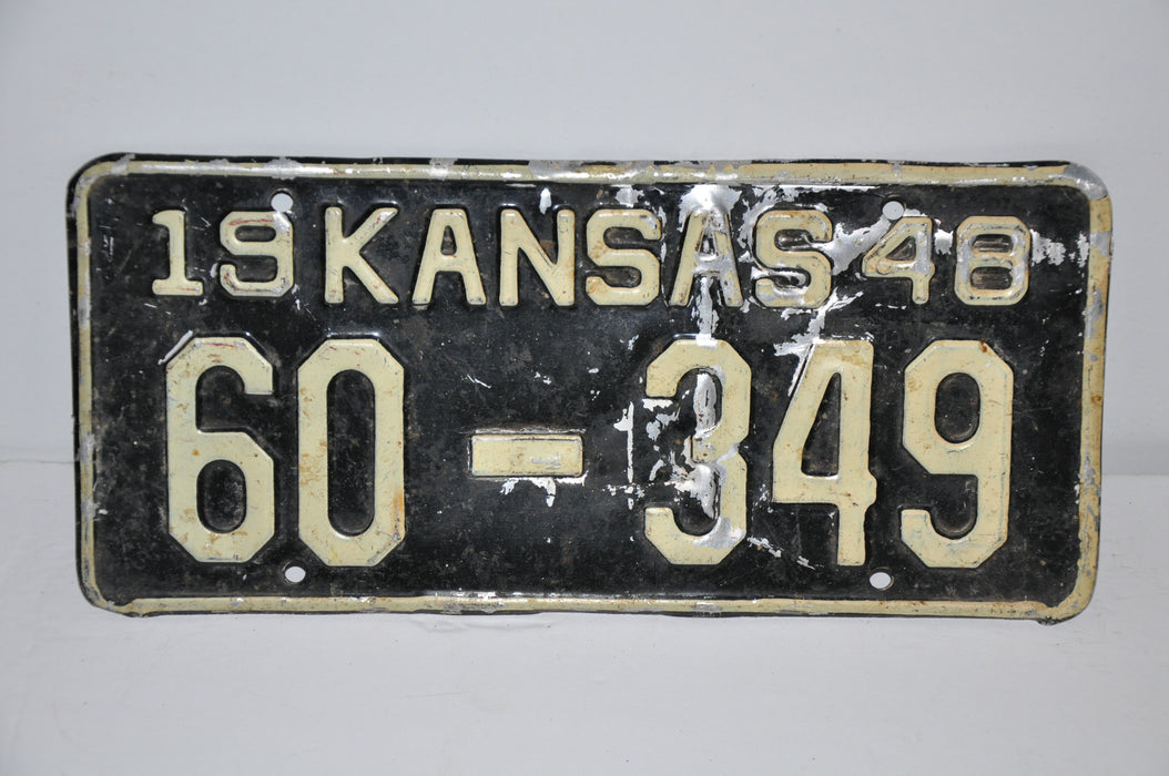1948 Kansas License Plate # 60-349 Russell County Car Man Cave Chevy Ford   - TvMovieCards.com
