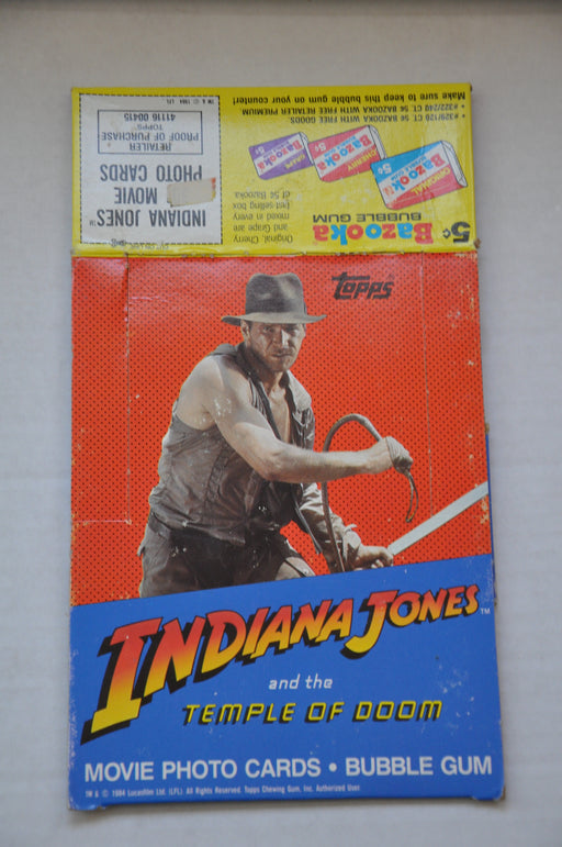 1984 Indiana Jones Temple of Doom Empty Bubble Gum Vintage Trading Card Box   - TvMovieCards.com