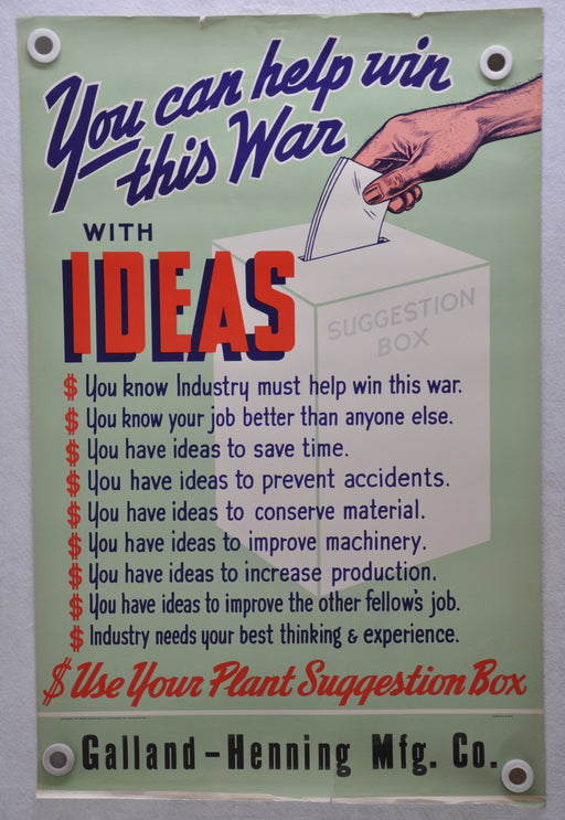"1942 ""You Can Help Win This War With Ideas"" WWII War Poster (22 X 34)   - TvMovieCards.com"