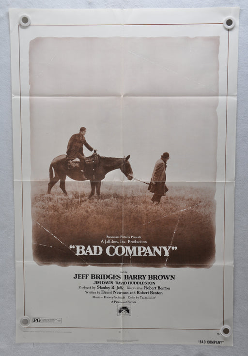 1972 Bad Company Original 1SH Movie Poster 27 x 41 Jeff Bridges, Barry Brown, Jim Davis   - TvMovieCards.com