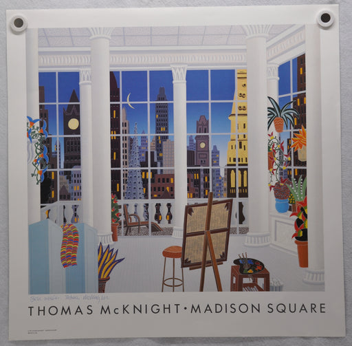 """Madison Square"" Thomas McKnight Signed 1991 Art Print Poster 26 x 26   - TvMovieCards.com"