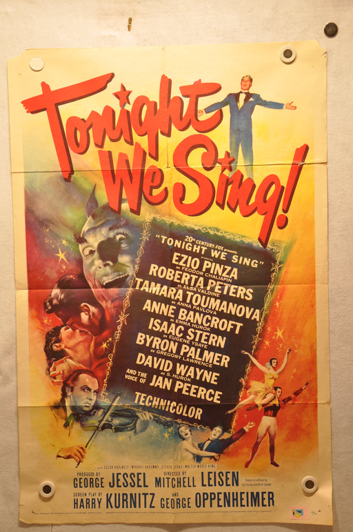 "1953 Tonight We Sing! 1SH 1 Sheet Movie Poster 27"" x 41"" David Wayne   - TvMovieCards.com"