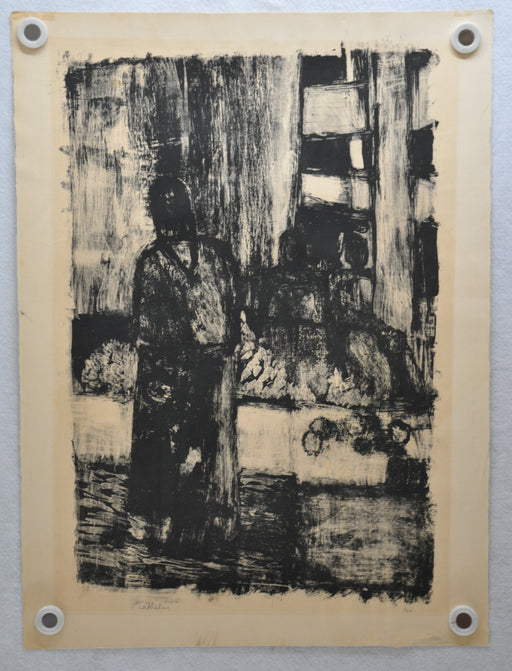 Mid Century Bernard Cathelin Abstract Lithograph of Woman Signed 3/50   - TvMovieCards.com