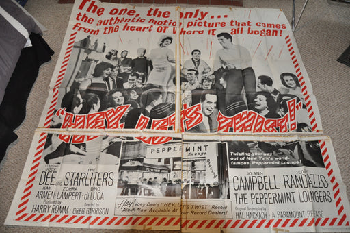 "1961 Hey Let's Twist Original 4SH 4 Sheet Movie Poster 78"" x 78"" The Starliters   - TvMovieCards.com"
