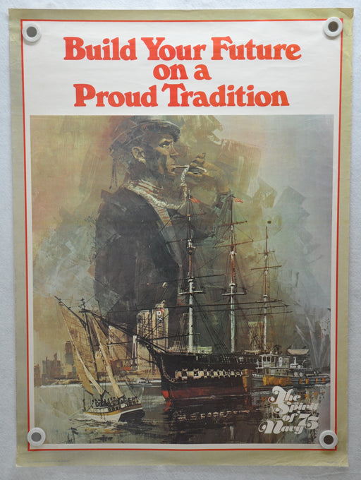 "1975 U.S.N US Navy ""Spirit of '75 Navy"" Recruiting Poster 25"" x 34""   - TvMovieCards.com"