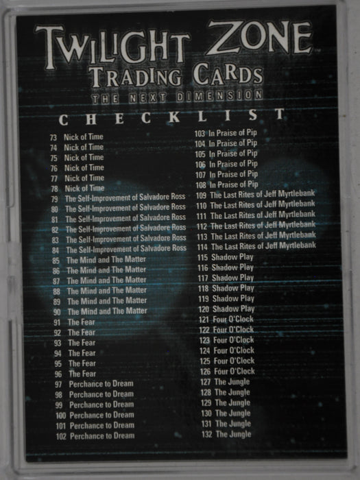 Twilight Zone 2 The Next Dimension Trading Base 72 Card Set   - TvMovieCards.com