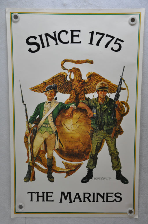 "1970s U.S.M.C. ""Since 1775 - The Marines"" Recruiting Poster 24"" x 38""   - TvMovieCards.com"