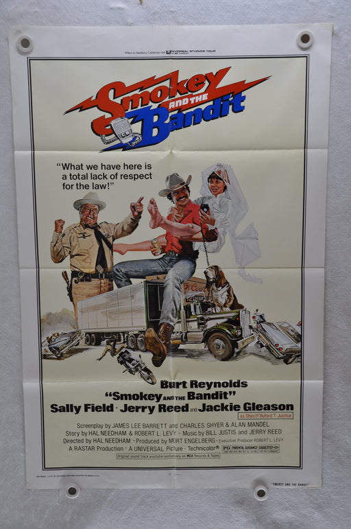 1977 Smokey and the Bandit Original 1SH Movie Poster 27 x 41  Burt Reynolds   - TvMovieCards.com