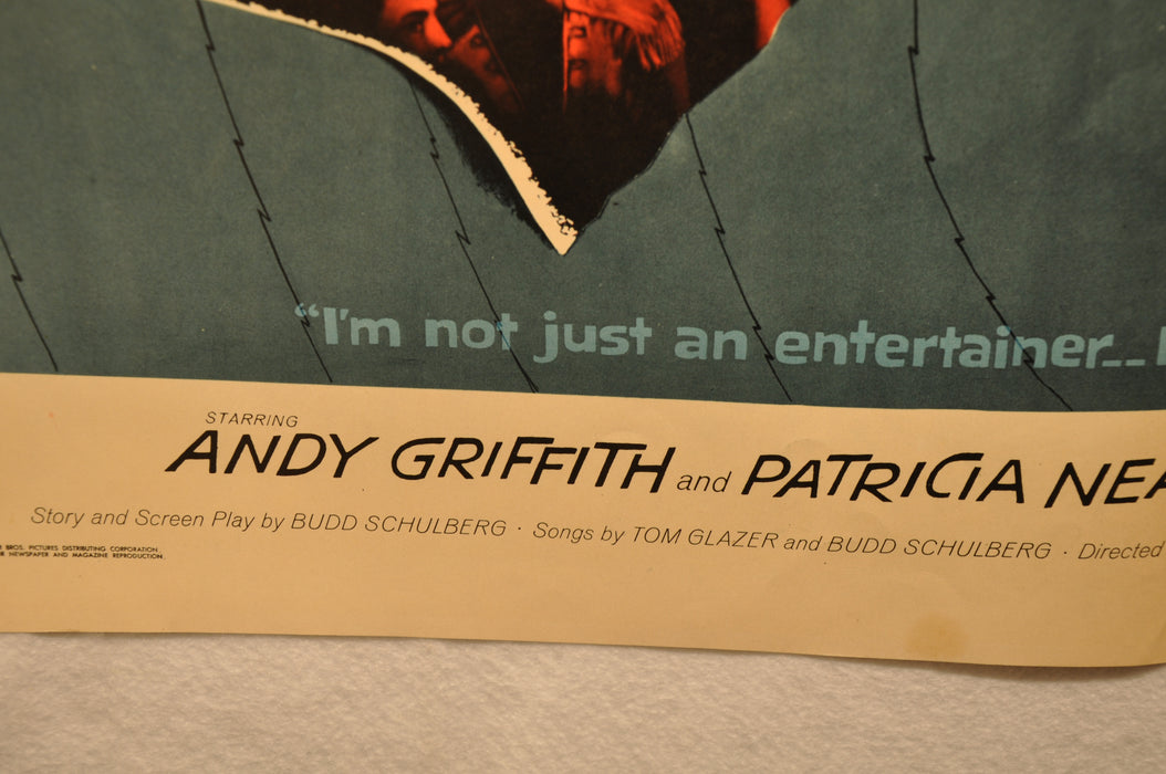 "1957 A Face in the Crowd Original Half Sheet Movie Poster ""22 x 28"" Andy Griffith   - TvMovieCards.com"