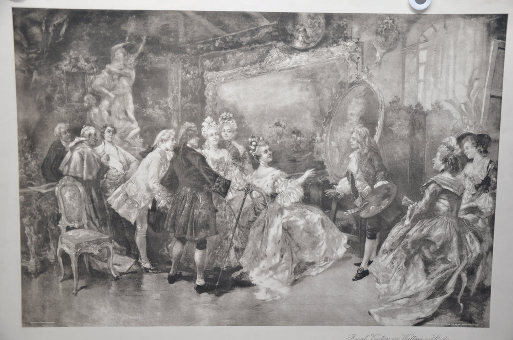 "Vincente V. de Paredes ""Royal Visitors in Watteau's Studio"" Lithograph Art Print   - TvMovieCards.com"
