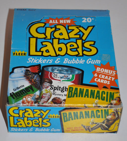 1979 Crazy Labels Stickers Bubble Gum Empty Trading Card Box Fleer   - TvMovieCards.com