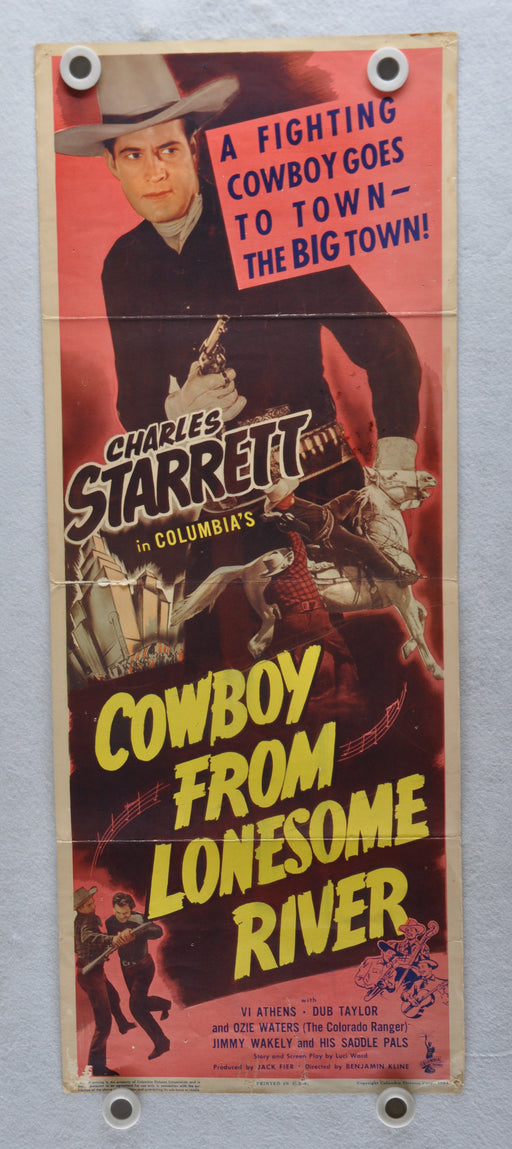 1944 Cowboy From Lonesome River Original Insert Movie Poster Charles Starrett   - TvMovieCards.com