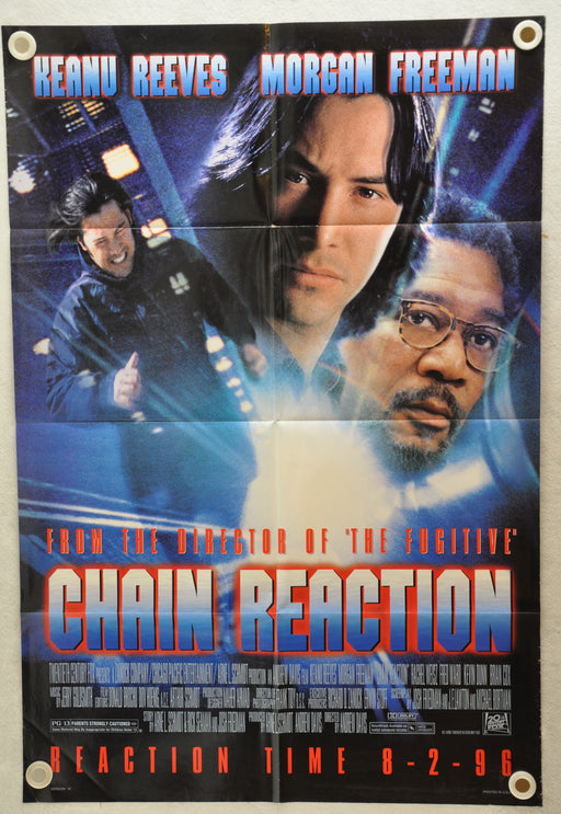 1996 Chain Reaction 1SH D/S Movie Poster 27 x 41 Keanu Reeves Morgan Freeman   - TvMovieCards.com