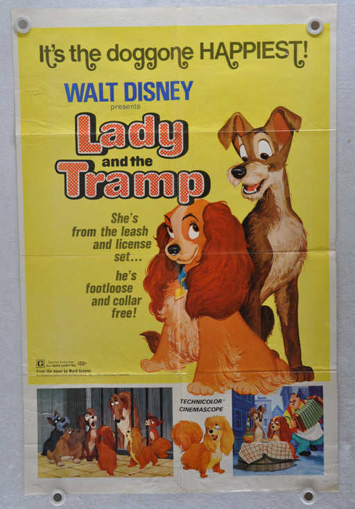 Original 1972 Lady and the Tramp Rerelease Movie Poster 27 x 41 Barbara Luddy   - TvMovieCards.com