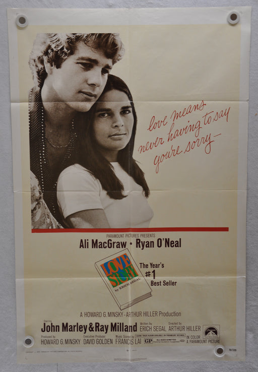 Original 1970 Love Story Movie Poster 27 x 41  Ali MacGraw, Ryan O'Neal, John Marley   - TvMovieCards.com