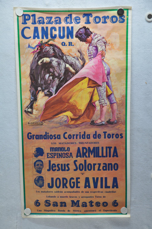 1961 Mexico Plaza de Toros Cancun Bullfighting Travel Poster Armillita 19 x 36   - TvMovieCards.com