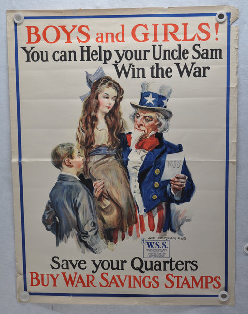 """Boys and Girls! You Can Help Your Uncle Sam"" WW1 War Stamp Poster (30 X 40)   - TvMovieCards.com"
